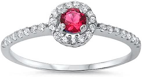 Halo Simulated Simulated Ruby & Cubic Zirconia .925 Sterling Silver Ring sizes 5-9