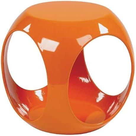 AVE SIX Slick High Gloss Finish Cube Occasional Table Orange