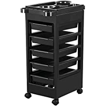 Yaheetech Salon SPA Beauty Hairdressing Rolling Trolley Cart With 5 Drawers Hair Dryer Service Tray Tool Storage Cart Black