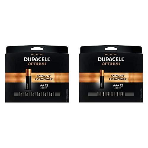 Duracell Optimum 1.5V Alkaline AA Batteries - Double A Battery 12 Count with AAA Alkaline Batteries |1.5V Triple A Battery 12 Count
