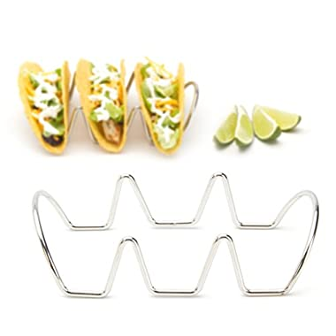 Premium Quality Taco Stands, Rustproof 100% Stainless Steel Holders for Hard or Soft Shell Tacos, Taco Racks Hold 3 Tacos Each (2 Pack) by 2LB Depot