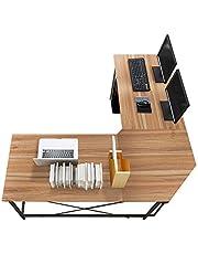 soges L-Form Eckschreibtisch Computertisch Winkelschreibtisch, 150 cm + 150 cm großer Gaming Schreibtisch Bürotisch Ecktisch Arbeitstisch PC Laptop Studie Tisch