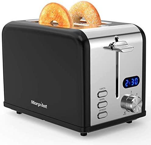 Toaster 2 Slice, Morpilot Retro Stainless Steel Bagel Toasters with Timer, Wide Slots, Removable Crumbs Tray, Black (Renewed)