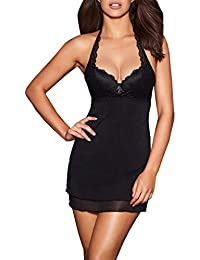 Womens Valencia Mesh Babydoll w/Padded Underwire Lace Bra