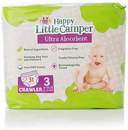Happy Little Camper x Hilary Duff Ultra-Absorbent Hypoallergenic Natural Baby Diapers with Bio-Core Blend and Strong Latex and Chlorine-Free Protection, Size 3, 31 Count