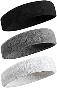 Sweatband for Unisex Adult Headbands Moisture Wicking Athletic Cotton Terry Cloth Sweat - Wicking Sports Elast