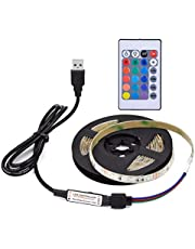 Mainstayae DC5V 6W 1M 60 LEDs RGB Strip Light with Remote Control USB Powered Operated Brightness Adjustable Dimmable 16 Colors Multi-colored Changing Flash/Strobe/Fade/Smooth 4 Lighting Modes