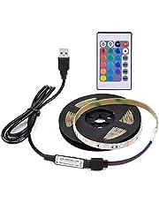 ماينستاي DC5V 6W 1M 60 LED ضوء شريط RGB مع جهاز تحكم عن بعد، إضاءة تعمل باليو إس بي، إضاءة قابلة للتعديل 16 لونًا متغيرًا متعدد الألوان، فلاش/سكتة/بهتان/سلس 4 أنماط إضاءة