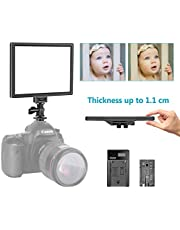 Neewer T100 Softer SMD LED Video Light Lighting Kit: Bi-Color 3200K-5600K Dimmable Ultra Thin LED Panel with 2200mAh Li-ion Battery and USB Charger for Children Portrait Product Studio Photography