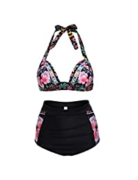 Walant Women's Halter Geometric Print High Waisted Swimsuit Bathing Suits Bikini