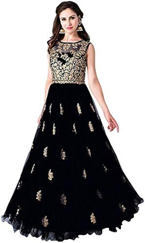 Varudi Fashion Multi Color Heavy Soft Net Fabric Embroidery Work Round Neck Sleevesless Long Semi Sticthed Gown For Women (black)