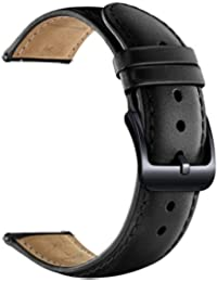 20mm Watch Band Quick Release Leather Watch Bands with Black Stainless Pins Clasp -Black