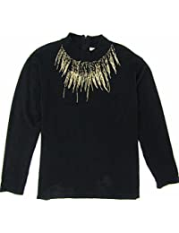 Women's Knit Top With Beaded Neckline Size 3X (Black)