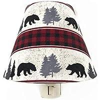 Woodland Bear Night Light - Buffalo Plaid Nursery Decor - Boys Nursery Nite Lite - Red Black Gray White