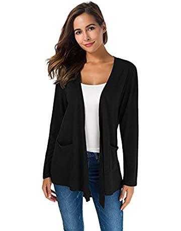 4d406682100df TownCat Women s Loose Casual Long Sleeved Open Front Breathable Cardigans  with Pocket