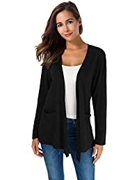 Women's Loose Casual Long Sleeved Open Front Breathable Cardigans with Pocket
