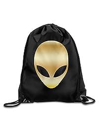 Alien Head Gold Logo GYM Drawstring Backpack Bag