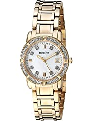 Bulova Womens Quartz Stainless Steel Casual Watch, Color:Gold-Toned (Model: 98R135)