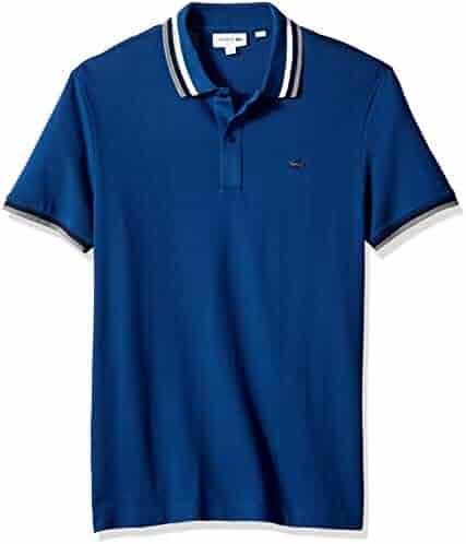 1d52a1408d419 Lacoste Men s Short Sleeve Slim Fit Pima Striped Collar Rubber Croc Polo