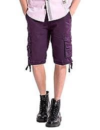 Yollmart Men's Cotton Multi Pocket Cargo Shorts Multicolor