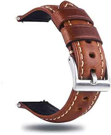 Berfine 22mm Quick Release Retro Leather Watch Band,Vintage Oil-Tanned Pull-up Leather Watch Strap Replacement,Brown