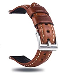 22mm Quick Release Retro Leather Watch Band,Vintage Oil-Tanned Pull-up Leather Watch Strap Replacement,Brown