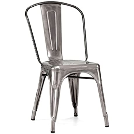 Tolix Style Stackable Clear Gunmetal Steel Side Chair Set Of 4