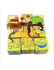 بازل مكعبات خشب ثلاثية الابعاد برسومات حيوانات للتعليم الاولي 6 في 1 للاطفال - لعبة تعليمية