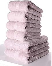 PimpamTex Lot de serviettes haute qualité 700 g à séchage rapide, 100 % coton Draps de bain + serviettes de toilette 2 de 70x140 cm + 4 de 50x100 cm Mauve
