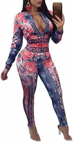 08dbff8083 FOUNDO Women s Hawaii Floral 2 Piece Set Tracksuit Sports Joggers Jacket  Suit