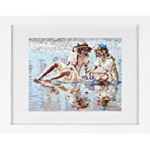 Girls Collecting Shells - Beach Framed Art Print
