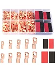 Anpress 120Pcs Copper Wire Lugs with Heat Shrink Set Battery Terminal Connectors Cable Ends AWG 2 4 6 8 10/12 60Pcs Heavy Duty Crimp Copper Wire Ring Lugs and 60 Pcs Heat Shrink Tubing Assortment Kit