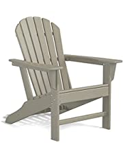 HDPE Adirondack Chair, Patio Outdoor Chairs, Plastic Resin Deck Chair, Painted Weather Resistant, for Deck, Garden, Backyard & Lawn Furniture, Fire Pit, Porch Seating by DAILYLIFE (Grayish Brown)