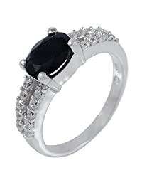 Banithani Black Tourmaline 925 Solid Silver Elegant Band Handcrafted Ring Jewelry