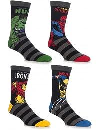SockShop Mens 4 Pair Marvel Comics Mix Hulk, Spider-Man, Ironman & Wolverine
