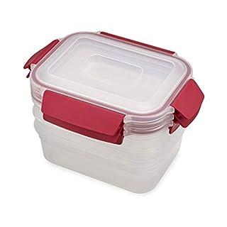 Joseph Joseph Nest Lock Plastic Food Storage Container Set with Lockable Airtight Leakproof Lids, 6-Piece Set/37oz, Red