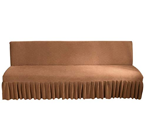 GIANCO FERRO Armless Stretch Futon Covers with Skirt Soft Jacquard Sofa Bed Cover with Elastic Bottom Machine Washable Stain Resistant Brown 70.5
