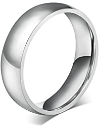 6MM High Polished Traditional Plated Plain Stainless Steel Promise Wedding Bands Ring Size US4-14, Gold/Silver/Blue