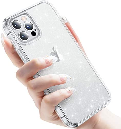 "CASEKOO Crystal Glitter Designed for iPhone 12 Pro Max Case, [Never Yellow] Bling Clear & Shockproof Protective Sparkle Phone Cover Thin Slim Case for Women & Girls (6.7"") 2020- Twinkle Stardust"