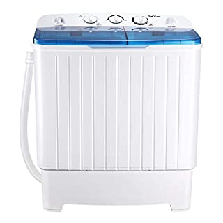 Portable Washing Machine, TACKLIFE 17.6 lbs Mini Compact Twin Tub Washing Machine, Wash (11lbs) and Spin Combo(6.6 lbs), Timer Control with Soaking Function, For Apartment, Dorm, RV, Camping - DSTP171