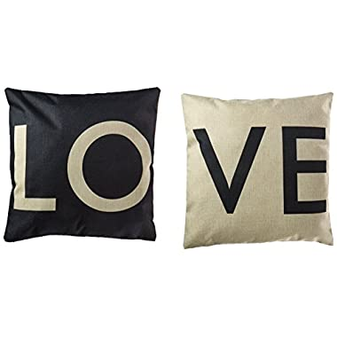 HOSL P28 Cotton Linen Cushion Cover Throw Pillow Case Set of 2 - Love (Black & White)