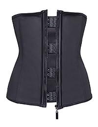 Miss Moly Womens Latex Boned Waist Trainer Cincher Shapewear with Zipper Plus Size