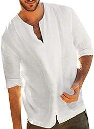 Huaze Gift Men's Baggy Cotton Linen Solid Color 3/4 Sleeve Top Fashion V Neck T Shirts Breathable Blo