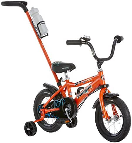 Schwinn Petunia and Grit Steerable Kids Bikes, Featuring Push Handle for Easy Steering, Training Wheels, Enclosed Chain Guard, Quick-Adjust Seat, and 12-Inch Wheels, in Pink/White and Orange/Black