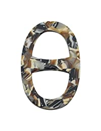 Winuxury Women's Natural Oval Shape Acetate Sheet Scarf Clip Birthday Gifts Filigree Silk Scarf Ring