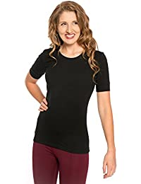 Heirloom 1/2 Sleeve Tee With Cuff, Scoop Neckline, Extra Length Comfy Slim Fit