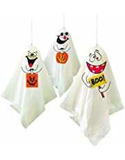 Unique Party 88048 - Ghost Halloween Hanging Decorations, Pack of 3