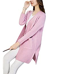 Women's Open Front Knit Solid Long Sleeve Pocket Chunky Cardigan Sweater
