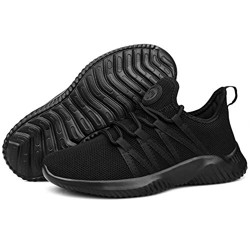 Feethit Womens Slip On Running Shoes Non Slip WalkingShoes Lightweight Gym Fashion Sneakers All Black Size 10