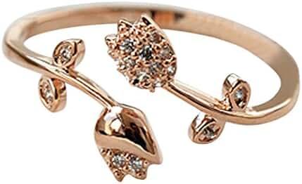 14K Crystal Rose Ring - Rose Gold / White Gold Plated (Size 1-10 Adjustable)